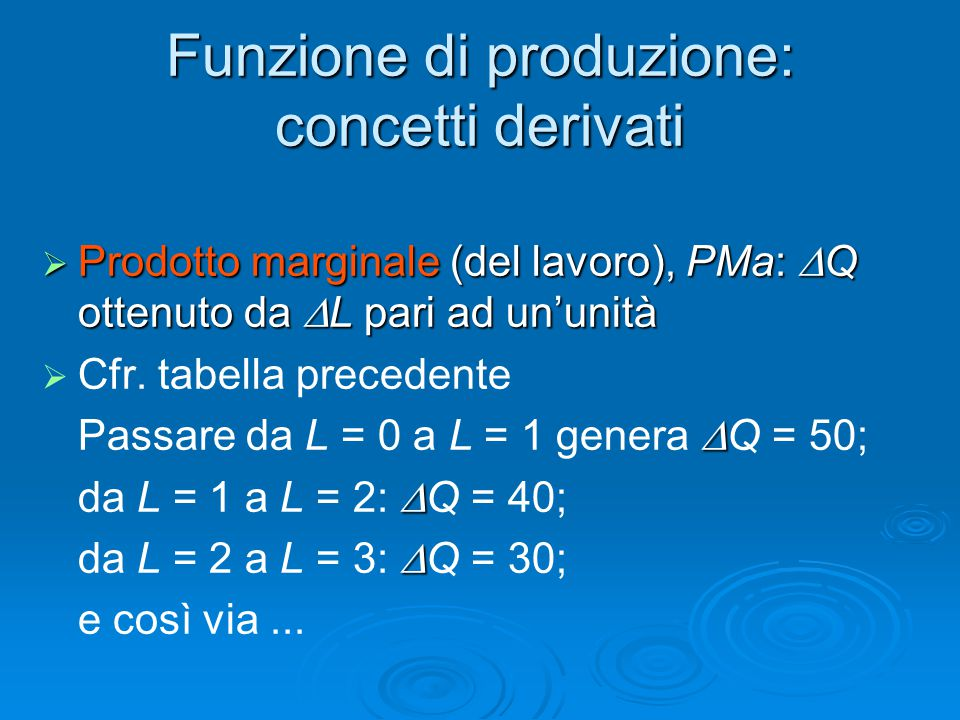 Funzione di produzione: concetti derivati
