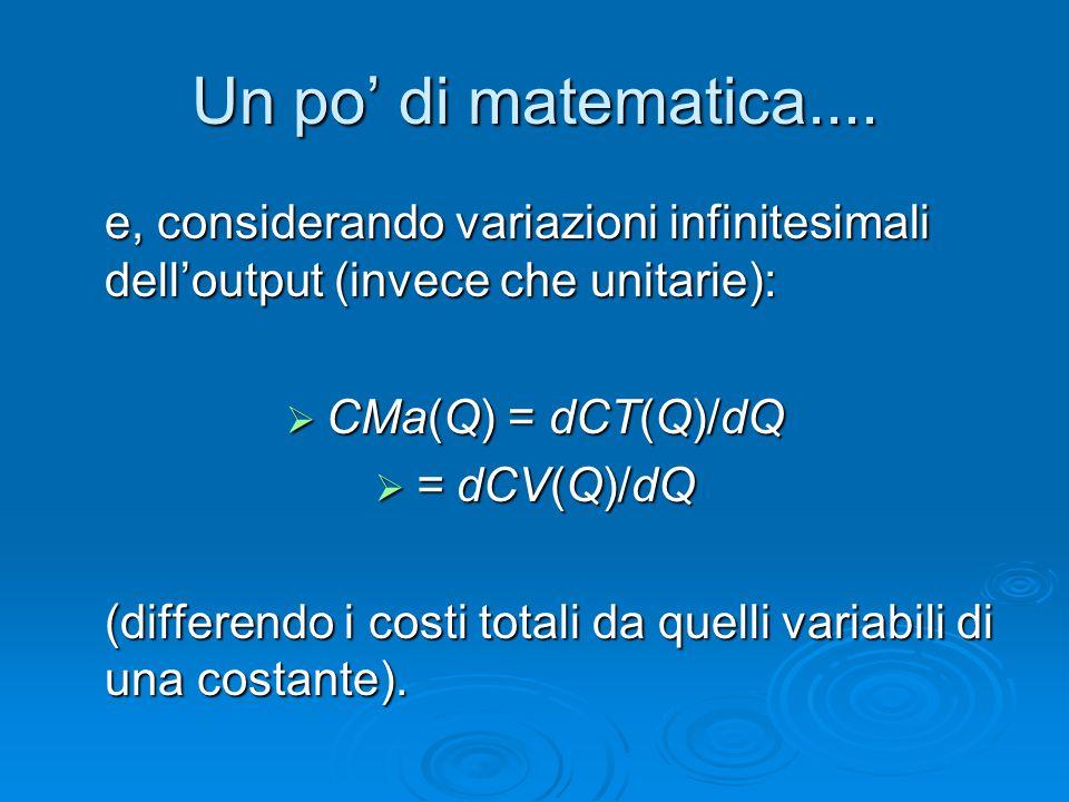 Un po' di matematica.... e, considerando variazioni infinitesimali dell'output (invece che unitarie):