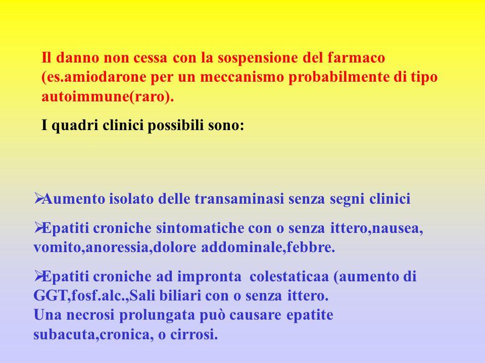 Il danno non cessa con la sospensione del farmaco (es