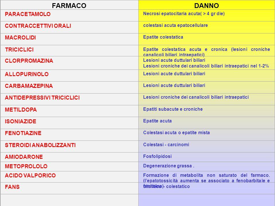 FARMACO DANNO PARACETAMOLO CONTRACCETTIVI ORALI MACROLIDI TRICICLICI