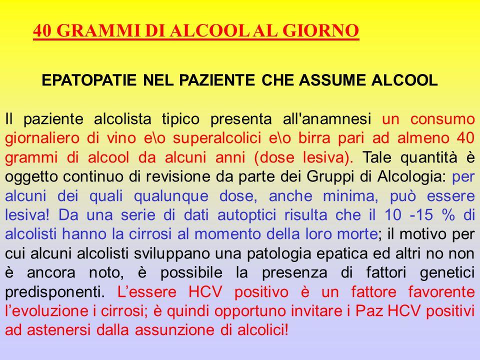 EPATOPATIE NEL PAZIENTE CHE ASSUME ALCOOL