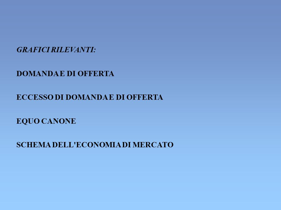 GRAFICI RILEVANTI: DOMANDA E DI OFFERTA. ECCESSO DI DOMANDA E DI OFFERTA.
