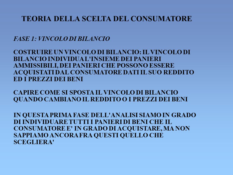 TEORIA DELLA SCELTA DEL CONSUMATORE