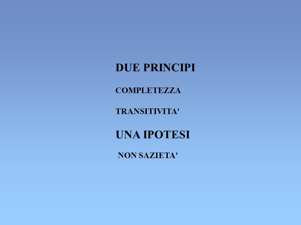 DUE PRINCIPI COMPLETEZZA TRANSITIVITA UNA IPOTESI NON SAZIETA