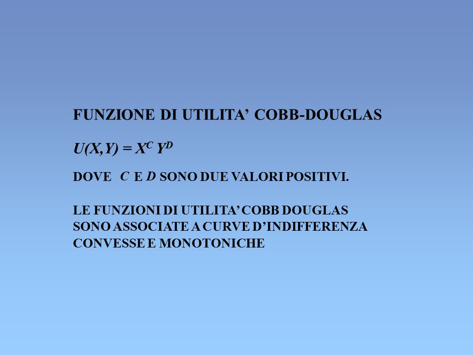 FUNZIONE DI UTILITA' COBB-DOUGLAS