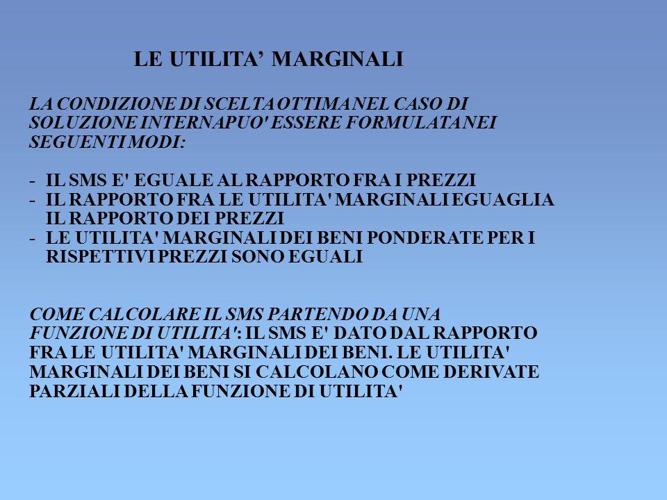 LE UTILITA' MARGINALI LA CONDIZIONE DI SCELTA OTTIMA NEL CASO DI