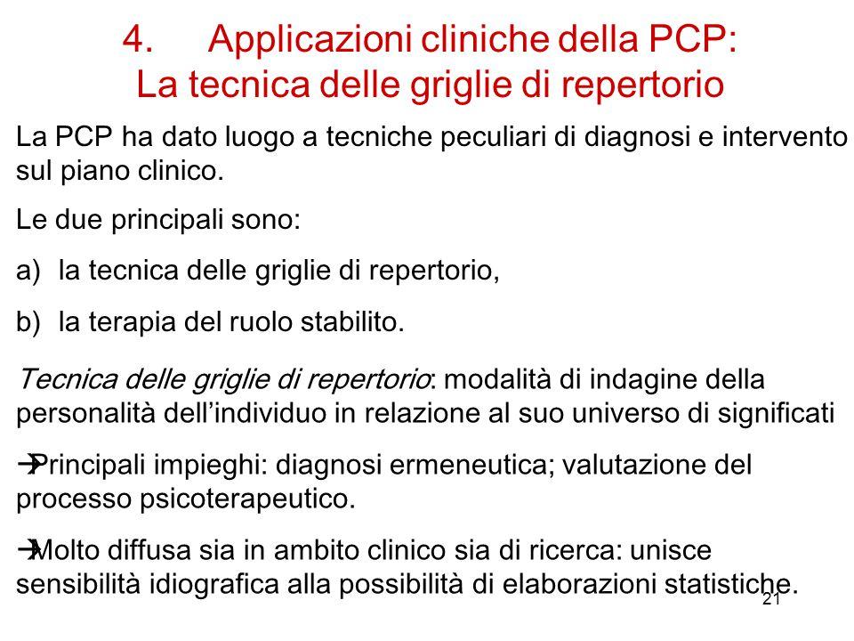 4. Applicazioni cliniche della PCP: La tecnica delle griglie di repertorio