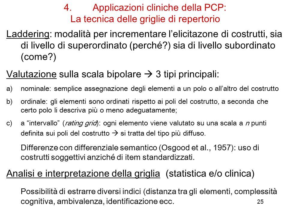 Valutazione sulla scala bipolare  3 tipi principali: