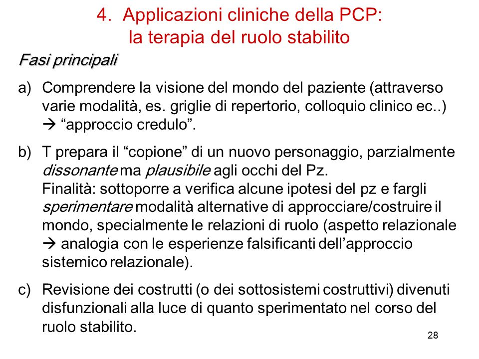 4. Applicazioni cliniche della PCP: la terapia del ruolo stabilito