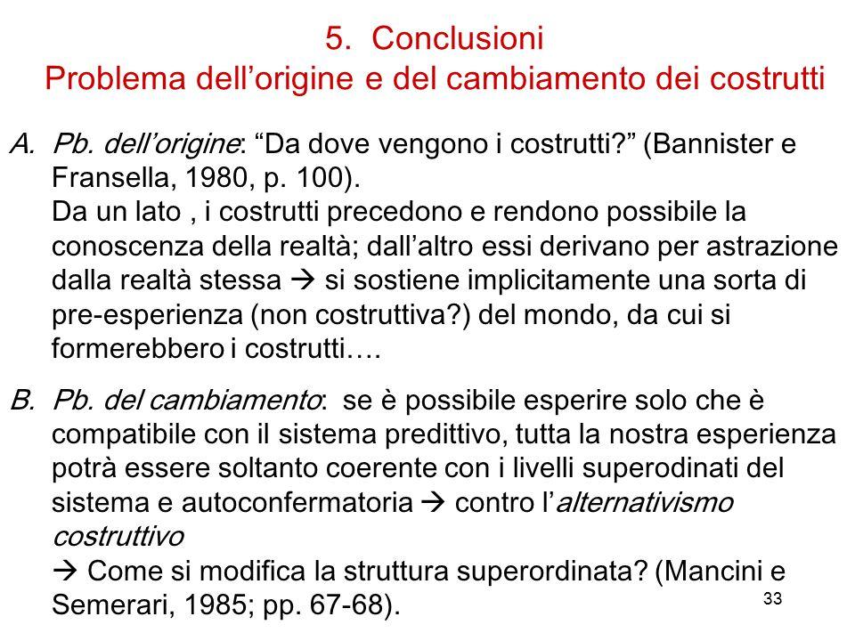 5. Conclusioni Problema dell'origine e del cambiamento dei costrutti