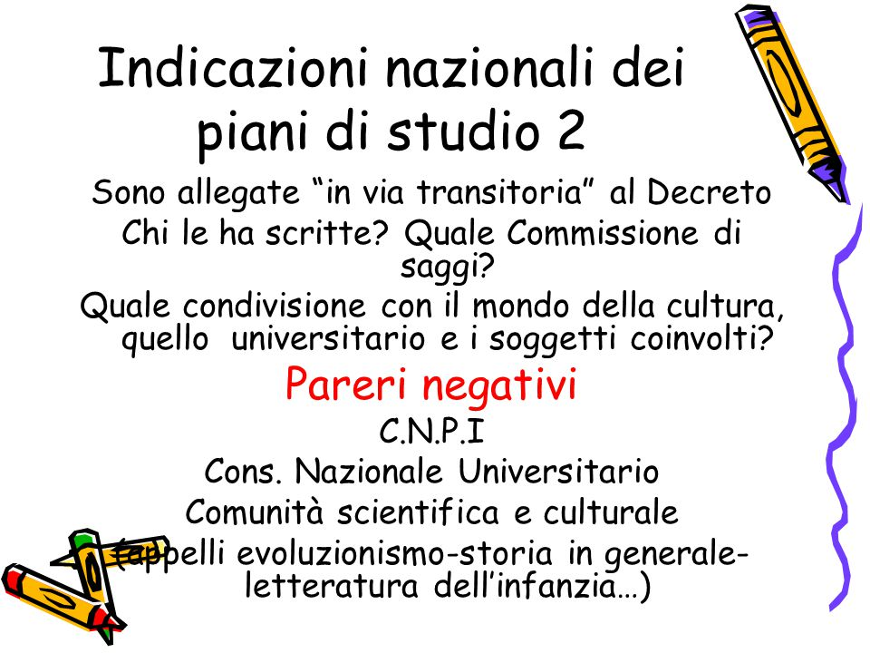 Indicazioni nazionali dei piani di studio 2