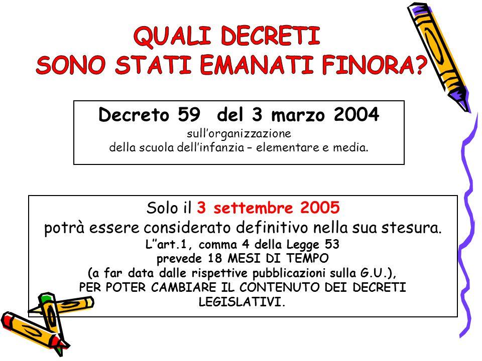 Decreto 59 del 3 marzo 2004 Solo il 3 settembre 2005