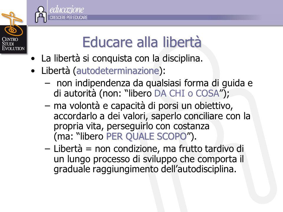 Educare alla libertà La libertà si conquista con la disciplina.