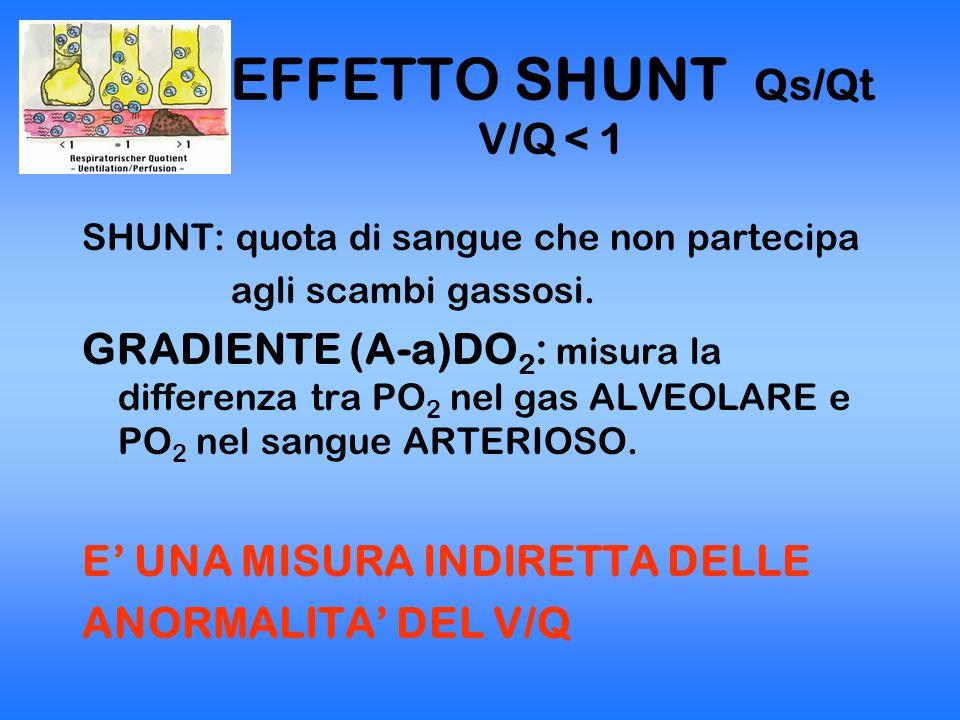 EFFETTO SHUNT Qs/Qt V/Q < 1