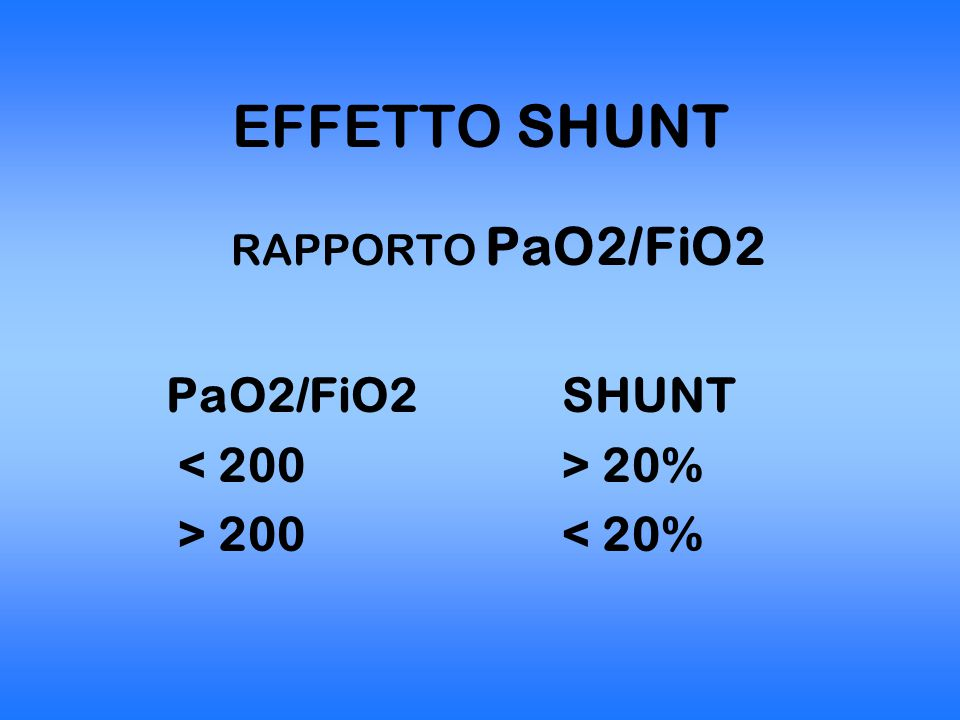 EFFETTO SHUNT PaO2/FiO2 SHUNT < 200 > 20% > 200 < 20%