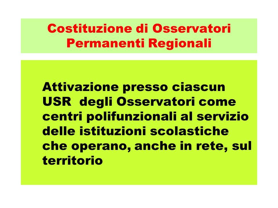 Costituzione di Osservatori Permanenti Regionali