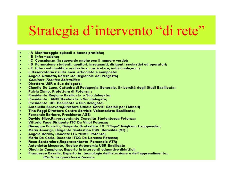 Strategia d'intervento di rete