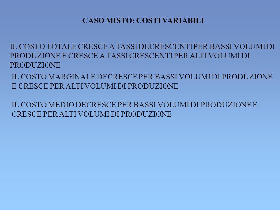 CASO MISTO: COSTI VARIABILI