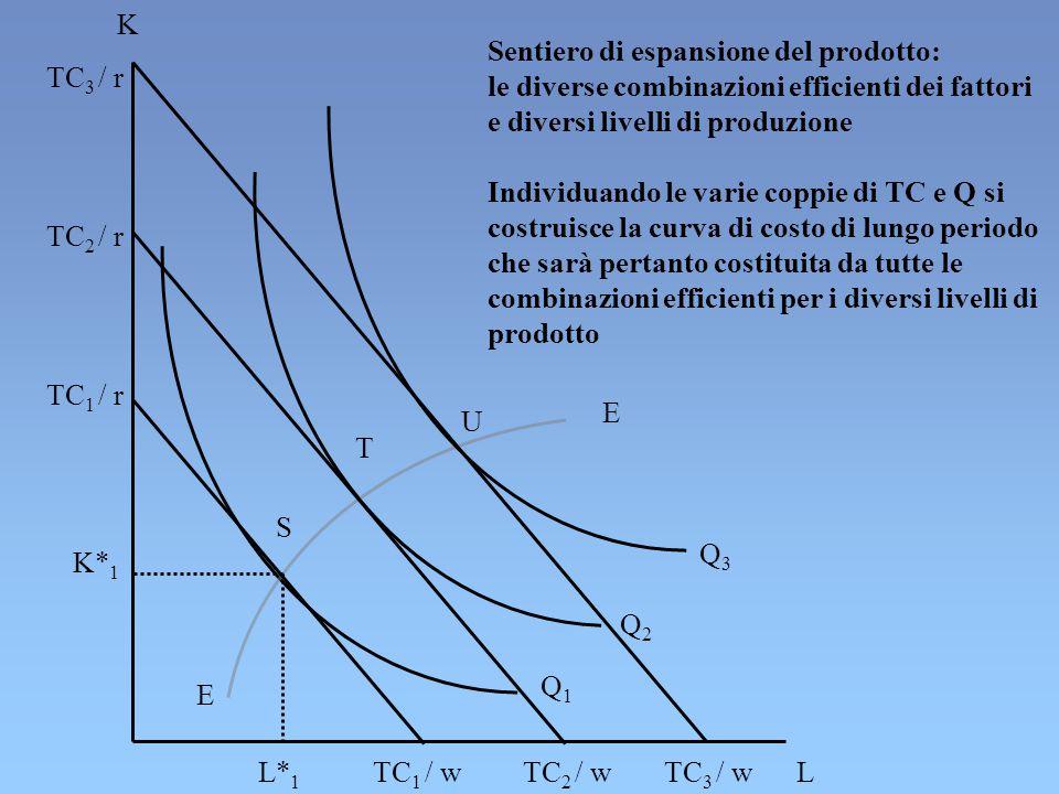 K Sentiero di espansione del prodotto: le diverse combinazioni efficienti dei fattori. e diversi livelli di produzione.