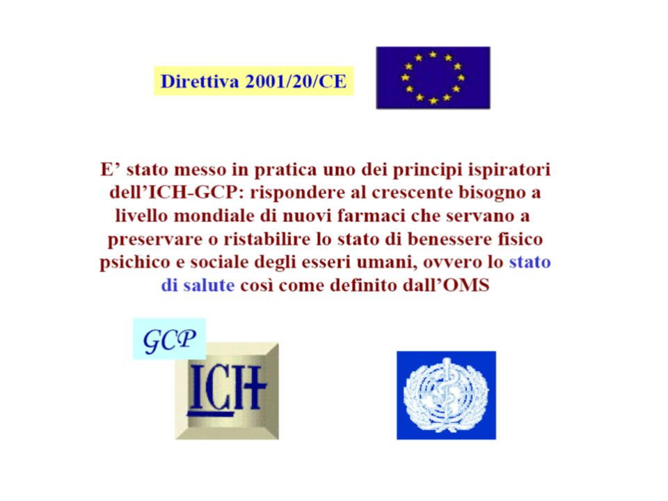 Con la direttiva 2001/20/CE vengono messe in pratica i principi del international conference of harmonization gcp