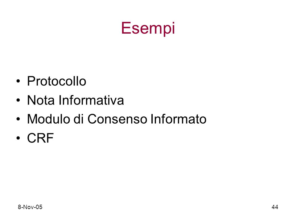 Esempi Protocollo Nota Informativa Modulo di Consenso Informato CRF
