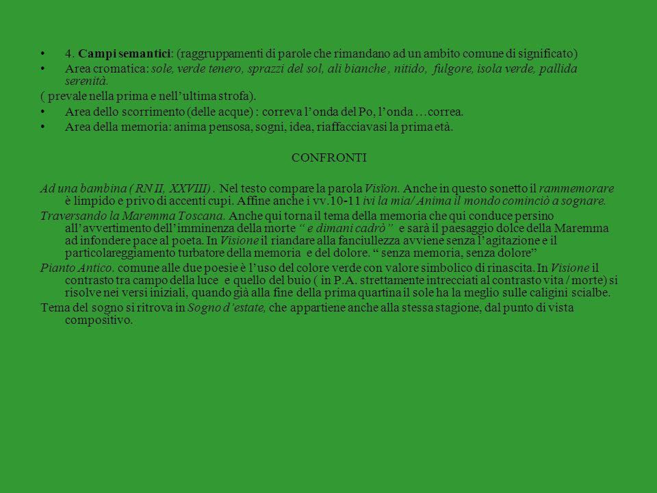 4. Campi semantici: (raggruppamenti di parole che rimandano ad un ambito comune di significato)
