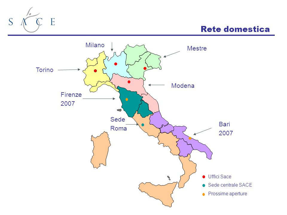 Rete domestica Milano Mestre Torino Modena Firenze 2007 Sede Roma Bari