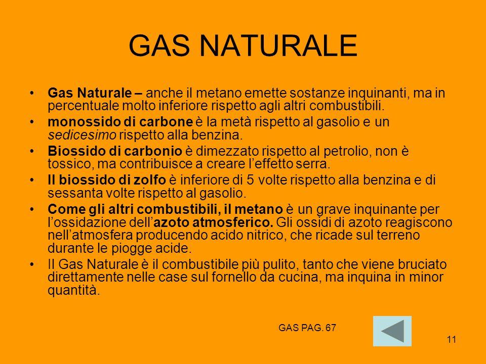 GAS NATURALE Gas Naturale – anche il metano emette sostanze inquinanti, ma in percentuale molto inferiore rispetto agli altri combustibili.