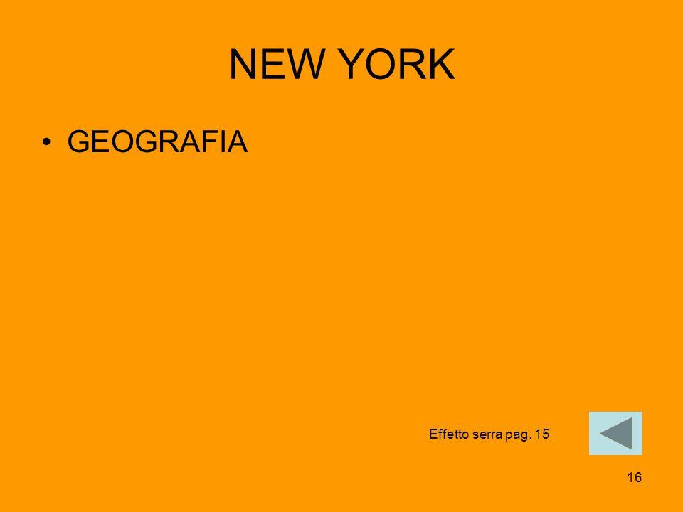 NEW YORK GEOGRAFIA Effetto serra pag. 15