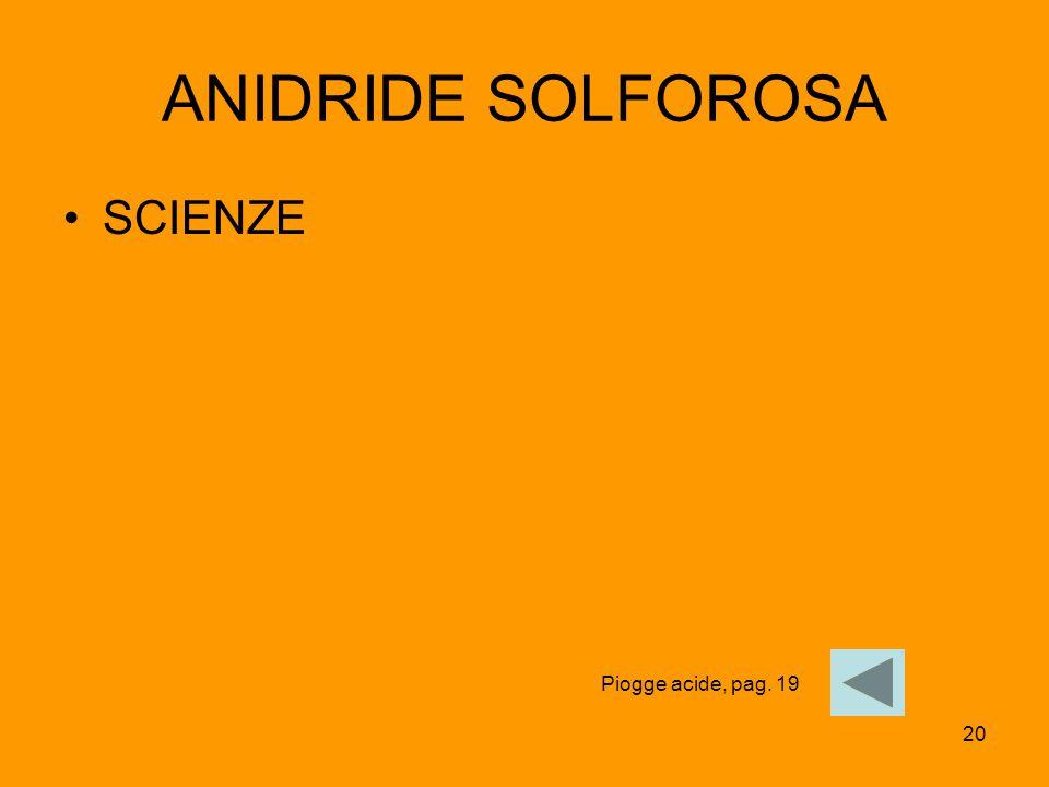 ANIDRIDE SOLFOROSA SCIENZE Piogge acide, pag. 19