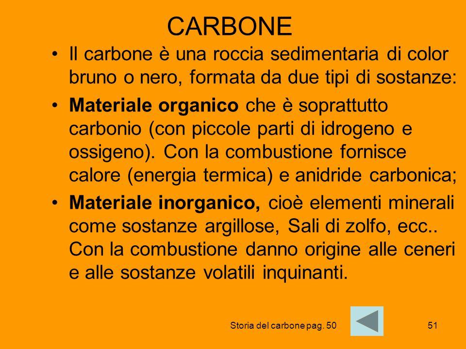 CARBONE Il carbone è una roccia sedimentaria di color bruno o nero, formata da due tipi di sostanze: