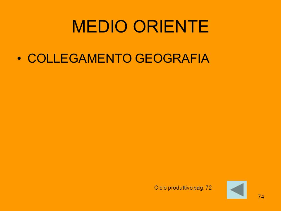 MEDIO ORIENTE COLLEGAMENTO GEOGRAFIA Ciclo produttivo pag. 72