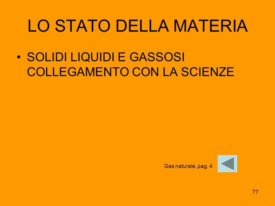 LO STATO DELLA MATERIA SOLIDI LIQUIDI E GASSOSI COLLEGAMENTO CON LA SCIENZE Gas naturale, pag. 4