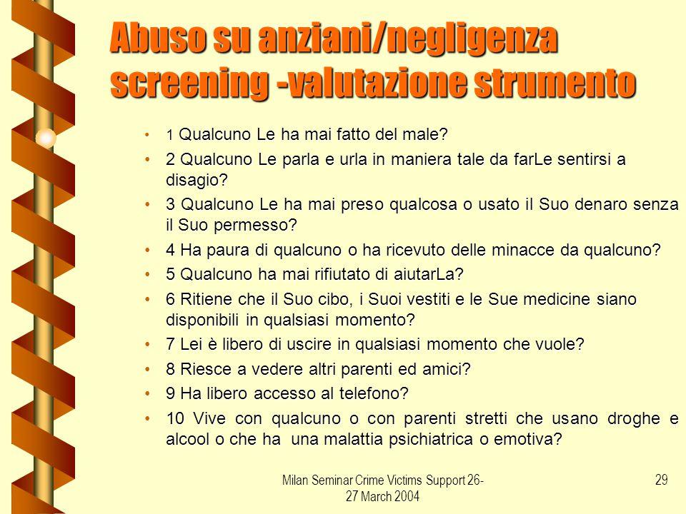 Abuso su anziani/negligenza screening -valutazione strumento