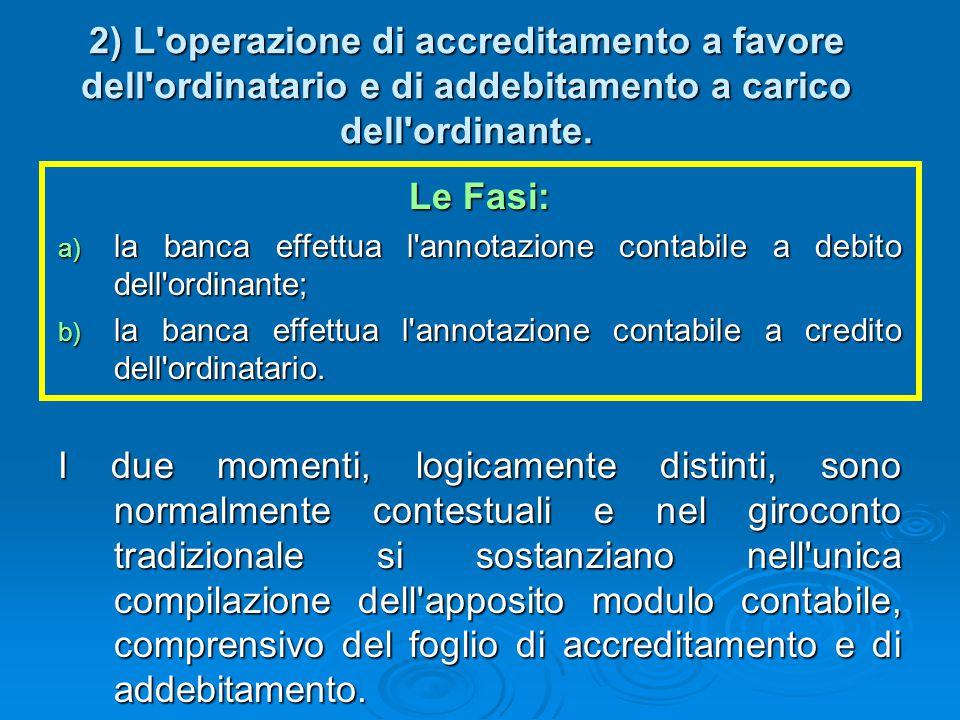 2) L operazione di accreditamento a favore dell ordinatario e di addebitamento a carico dell ordinante.