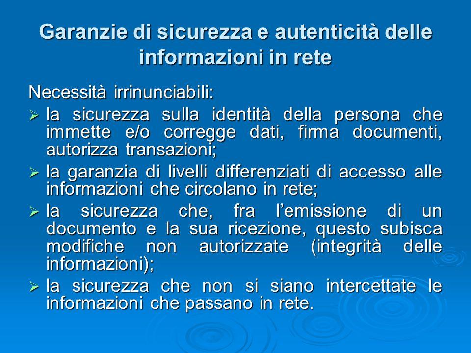 Garanzie di sicurezza e autenticità delle informazioni in rete