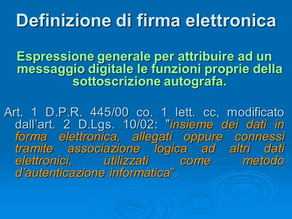Definizione di firma elettronica