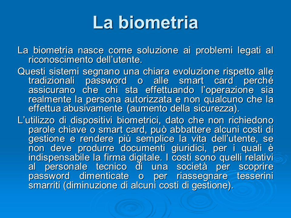 La biometria La biometria nasce come soluzione ai problemi legati al riconoscimento dell'utente.