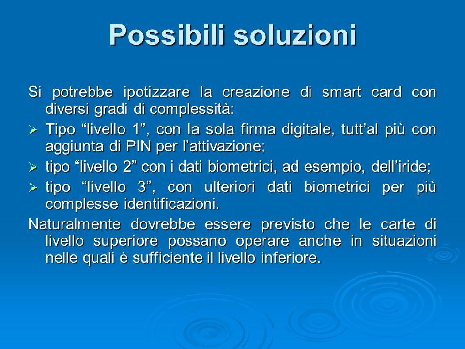 Possibili soluzioni Si potrebbe ipotizzare la creazione di smart card con diversi gradi di complessità: