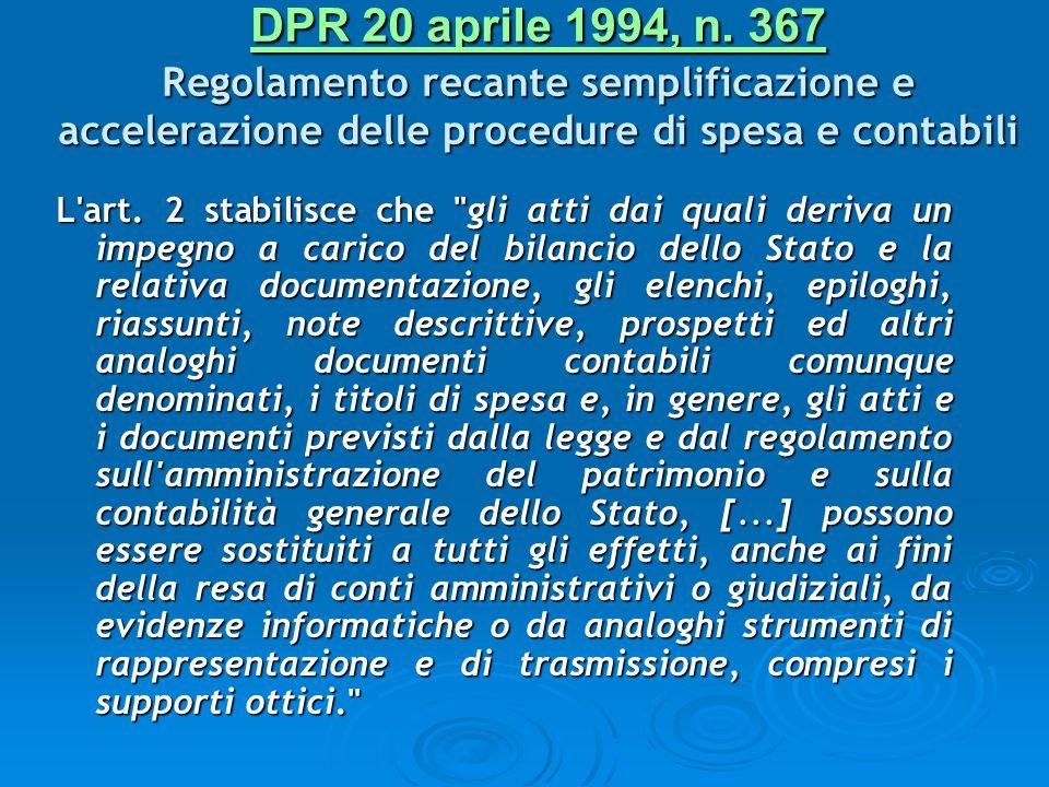 DPR 20 aprile 1994, n. 367 Regolamento recante semplificazione e accelerazione delle procedure di spesa e contabili