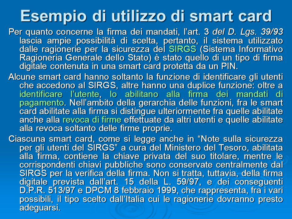 Esempio di utilizzo di smart card