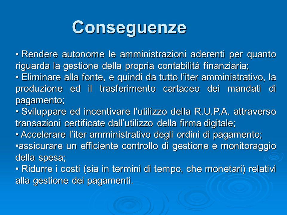 Conseguenze Rendere autonome le amministrazioni aderenti per quanto riguarda la gestione della propria contabilità finanziaria;