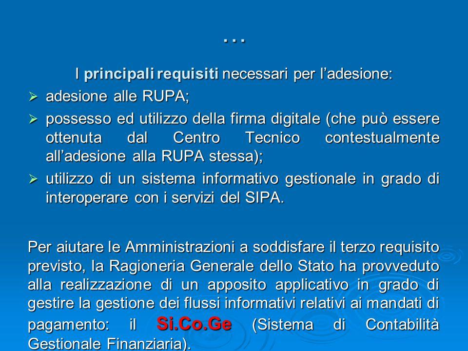 … I principali requisiti necessari per l'adesione: adesione alle RUPA;