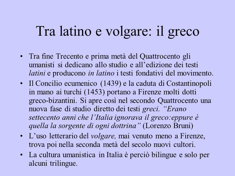 Tra latino e volgare: il greco