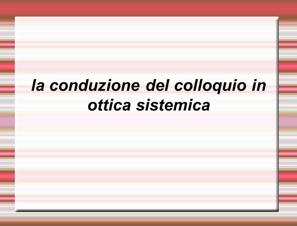 la conduzione del colloquio in ottica sistemica