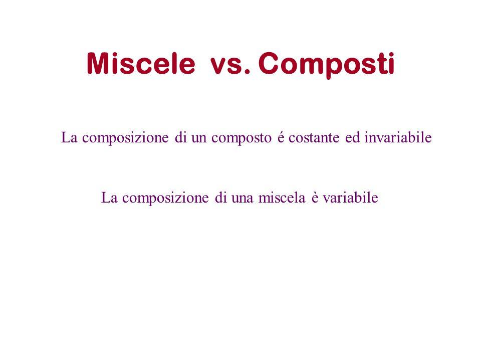 Miscele vs. Composti La composizione di un composto é costante ed invariabile.