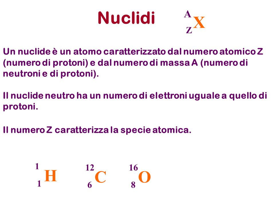 Nuclidi X. A. Z.