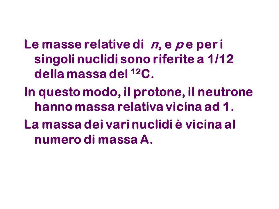 Le masse relative di n, e p e per i singoli nuclidi sono riferite a 1/12 della massa del 12C.