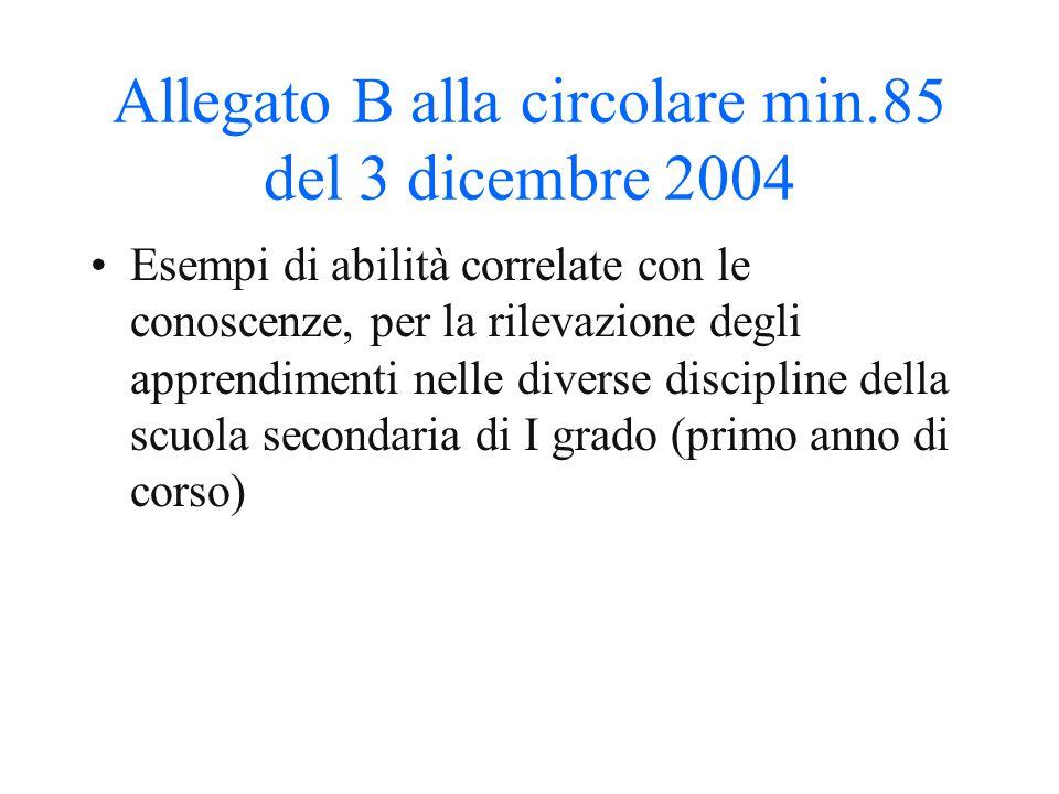 Allegato B alla circolare min.85 del 3 dicembre 2004