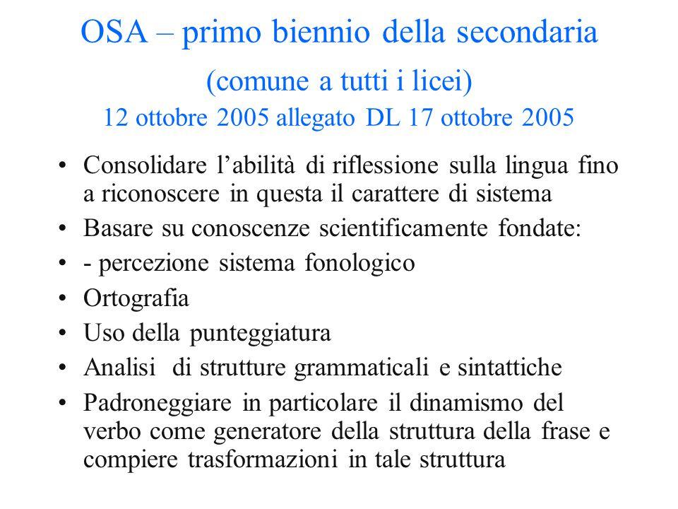 OSA – primo biennio della secondaria (comune a tutti i licei) 12 ottobre 2005 allegato DL 17 ottobre 2005